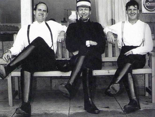 John Cleese, Graham Chapman and Michael Palin on the set of The Meaning of Life.