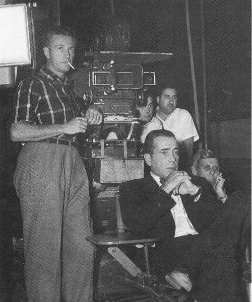 Nicholas Ray and Humphrey Bogart on the set of In a Lonely Place, 1950