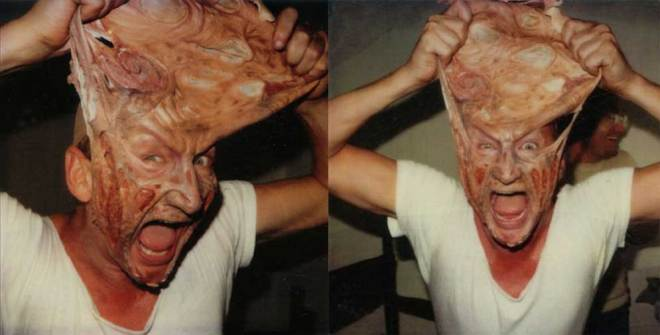 Robert Englund removing his Freddy Krueger makeup on the set of A Nightmare on Elm Street.