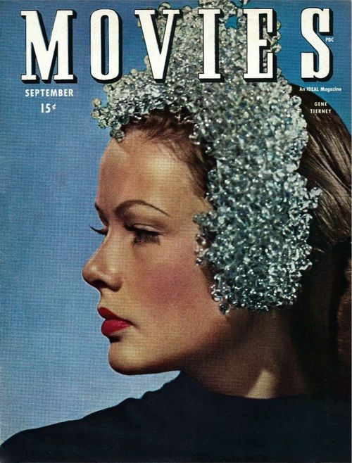 25TH_Gene Tierney on the front cover of Movies magazine, USA, September 1945.
