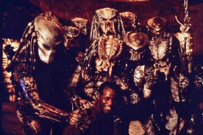 31ST_Danny Glover with his co-stars on the set of Predator 2.