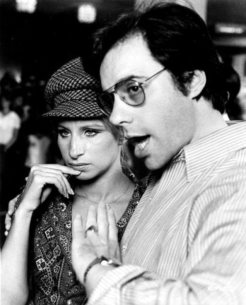 Barbra Streisand and director Peter Bogdanovich on the set of What's up, Doc