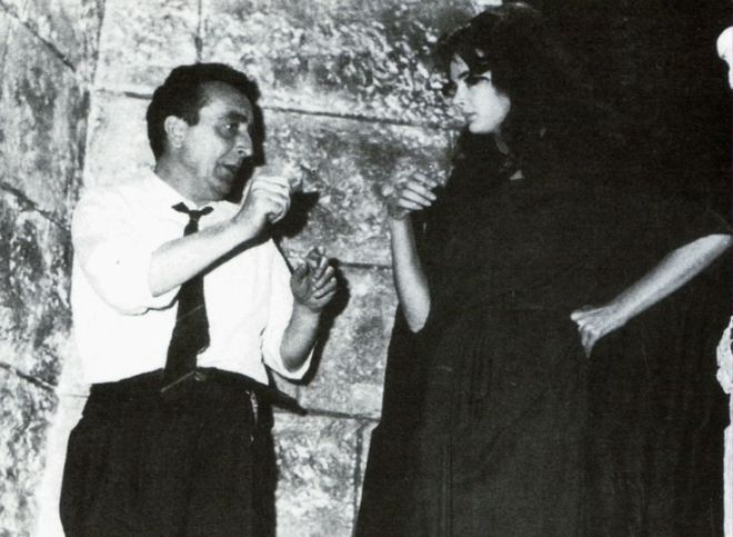 Mario Bava and Barbara Steele on the set of The Mask of Satan (1960)