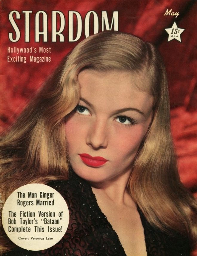 Veronica Lake on the front cover of Stardom magazine, USA, May 1943.