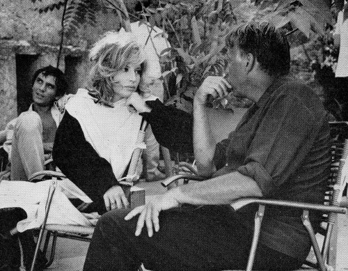 27TH_On the set of Modesty Blaise in Italy. Monica Vitti is joined by director Joseph Losey and Terence Stamp.