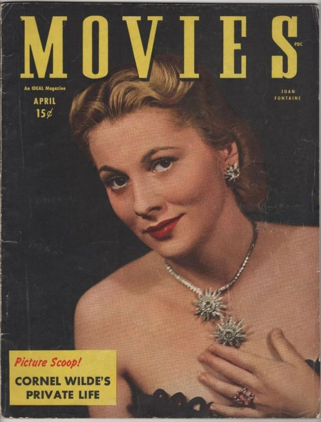 Joan Fontaine on the front cover of Movies magazine, USA, April 1946.