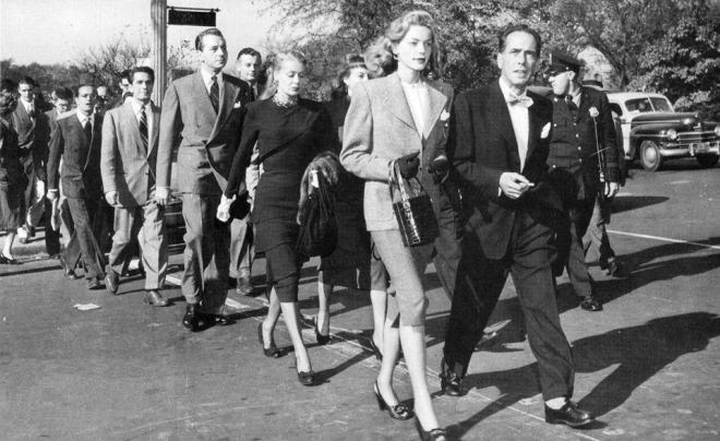 Lauren Bacall (1924-2014) and Humphrey Bogart lead a march to the Capitol in Washington, DC to protest against Senator McCarthy's witch hunt of communists and alleged communists, 1947.