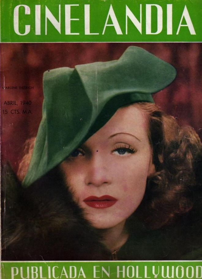Marlene Dietrich on the front cover of Cinelandia magazine, Argentina, April 1940.