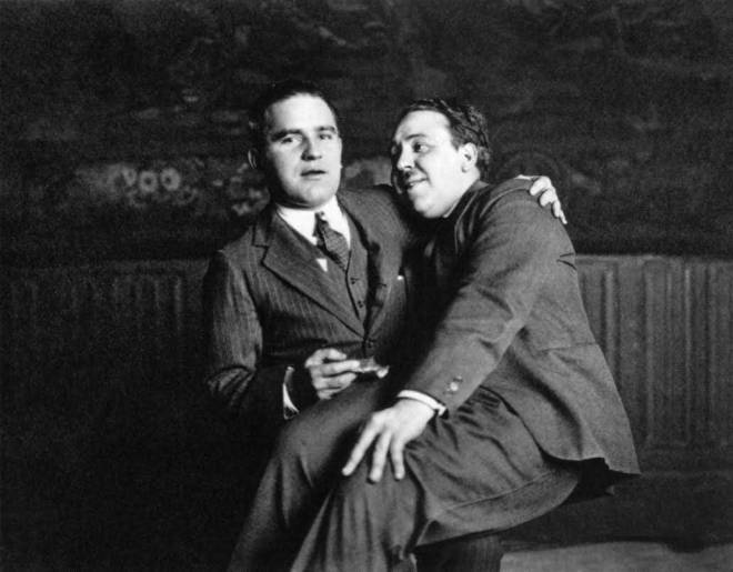 12th_Talent agent Myron Selznick and Alfred Hitchcock, 1924.