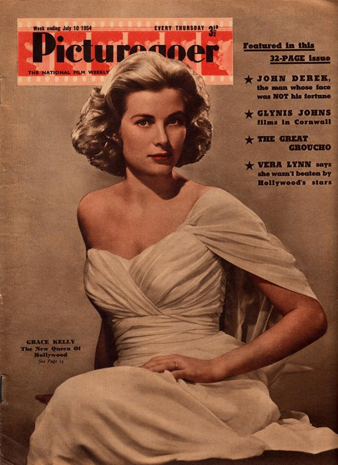 Grace Kelly on the cover of %22Picturegoer%22 magazine, United Kingdom, July 1954.