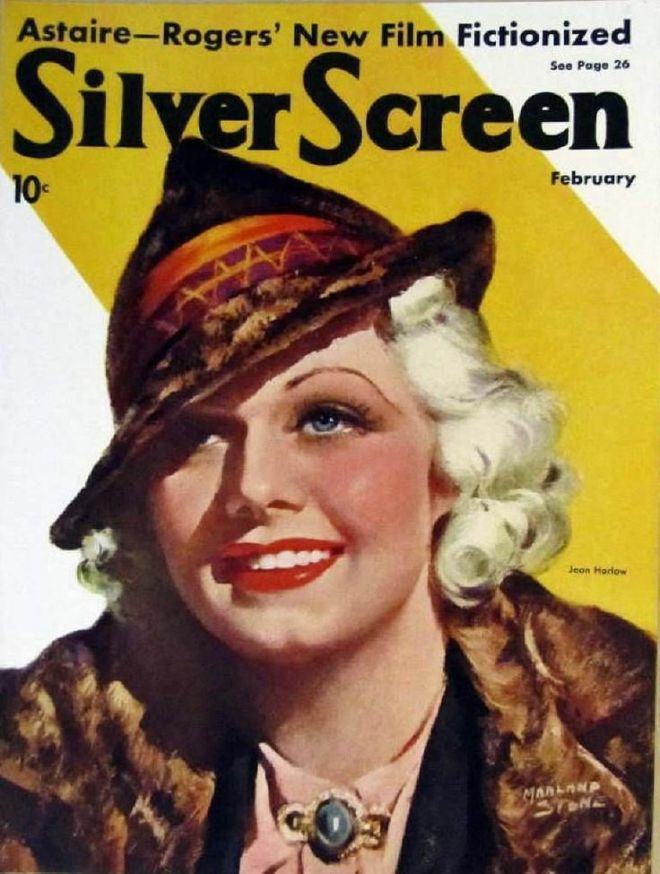 Jean Harlow on the cover of %22Silver Screen%22 magazine, USA, January 1936.