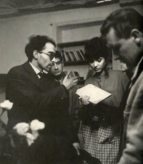 "Jean-Luc Godard directs Anna Karina and Jean-Claude Brialy on the set of ""Une Femme est Une Femme"" (1961)"