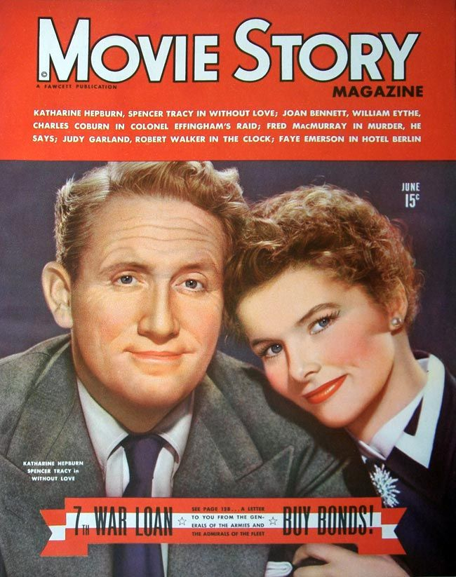 Spencer Tracy and Katharine Hepburn on the cover of %22Movie Story%22 magazine, USA, June 1945.