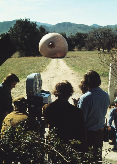 11th_Woody Allen (center) and giant marauding breast on the set of Everything You Always Wanted to Know About Sex, But Were Afraid to Ask (1972, dir. Woody Allen)