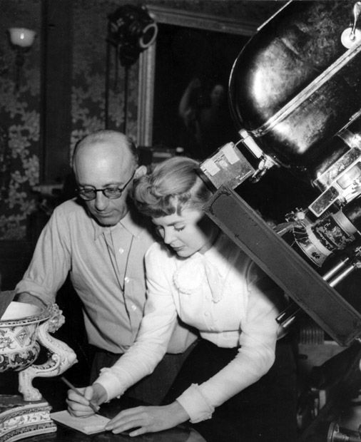 5th_With Robert Siodmak on the set of THE SPIRAL STAIRCASE (1946).
