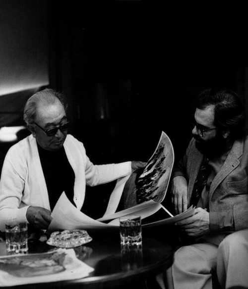Akira Kurosawa conferring with Francis Ford Coppola for a commercial they filmed for Suntory Whiskey during the shoot of Kagemusha.