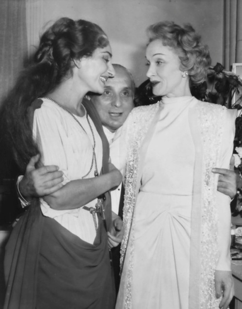 Marlene Dietrich meeting Maria Callas after a performance of Norma in 1956