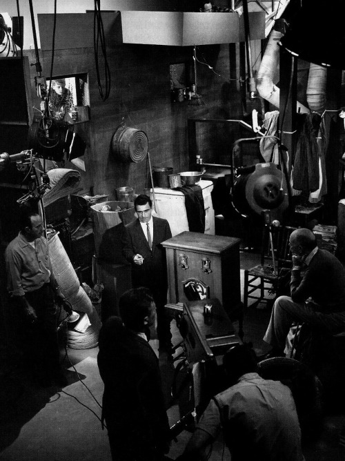 The Twilight Zone's crew looks on as Rod Serling performs his on-camera narration for the episode Static (1961)