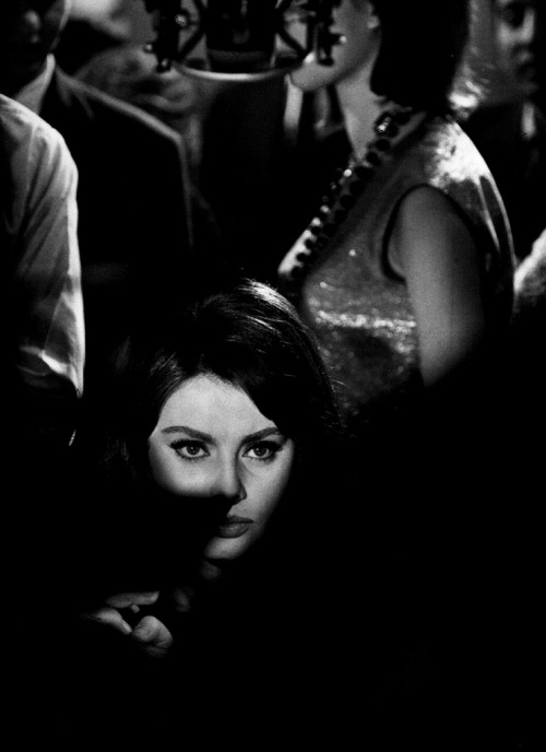 19th_by Eliott Erwitt Sophia Loren during the filming of Anatole Litvak's Five Miles to Midnight (Paris, 1962)