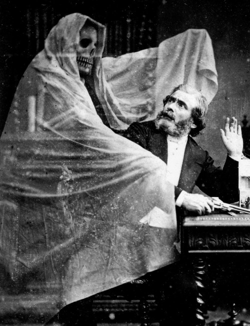 24_Eugène Thiébault's Henri Robin and a Specter, in which a man about to shoot himself is confronted by his own ghost. Thiébault achieved the effect of the ghost through the use of double exposure.