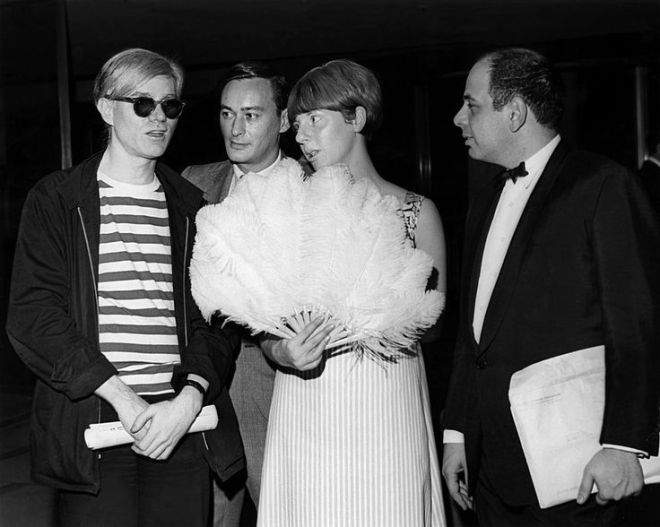"24_Andy Warhol, James Ivory and Felicity Kendal at a screening of ""Shakespeare Wallah"" in 1965.jpg"