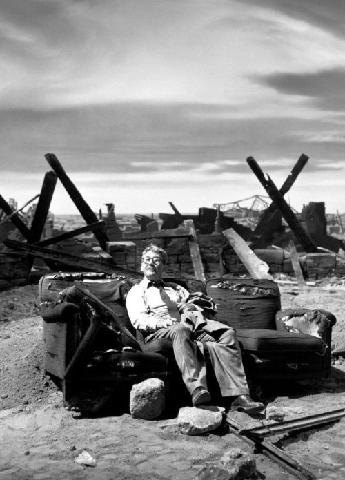"30_Burgess Meredith on the post-nuclear set of ""Time Enough to Last"" (1959).jpg"