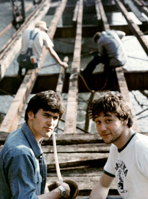 9th_Bruce Campbell & Sam Raimi on the set of The Evil Dead