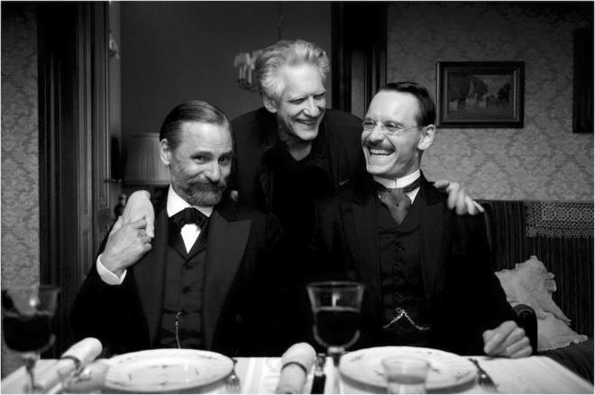 21__Michael Fassbender, Viggo Mortensen and David Cronenberg on the set of A Dangerous Method, Photo by Liam Daniel