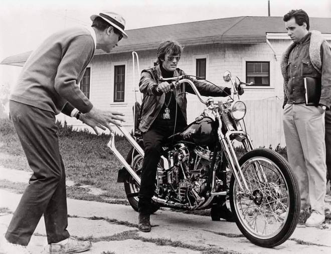 21_Corman, Fonda and Bogdanovich on the set of 'The Wild Angels' (1966)..jpg