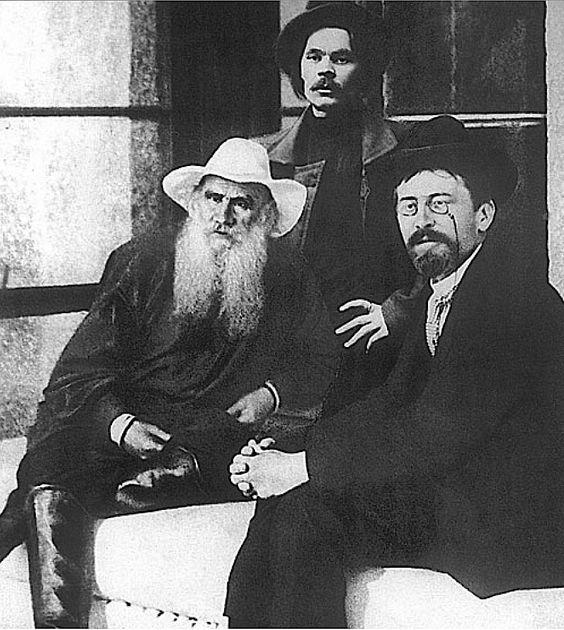 23_Leo Tolstoy (1828 – 1910), Maxim Gorky (1868 – 1936) and Anton Chekhov (1860 – 1904). Crimea, Russia, 1901..jpg