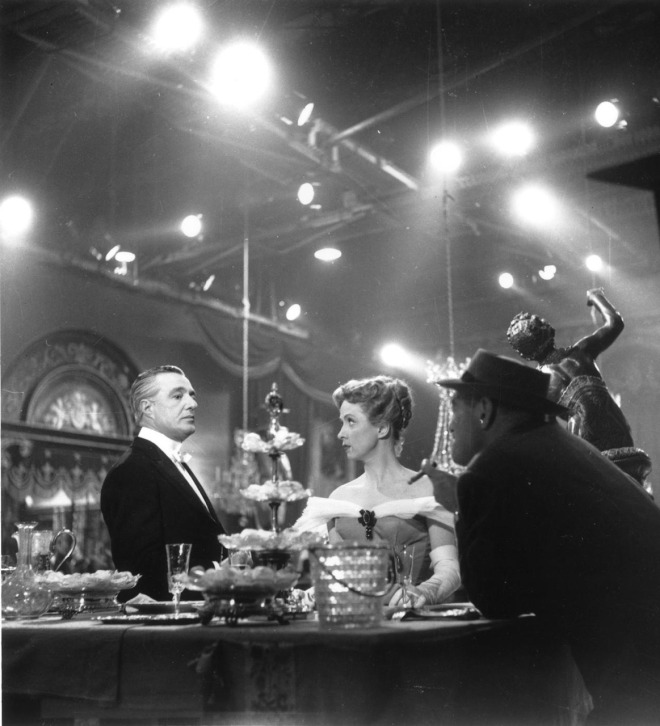 Vittorio De Sica, Danielle Darrieux & Max Ophuls on the set of The Earrings of Madame de...,1953-2