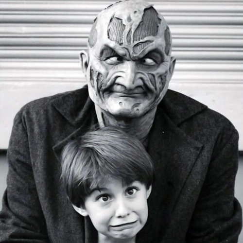 15_Robert Englund and Miko Hughes clown on the set of Wes Craven's New Nightmare.jpg