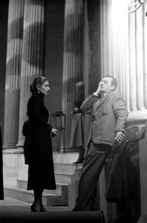19_Maria Callas and Luchino Visconti during rehearsal of La Vestale by Gaspare Spontini, Teatro alla Scala, 1954. Photo by Erio Piccagliani.jpg