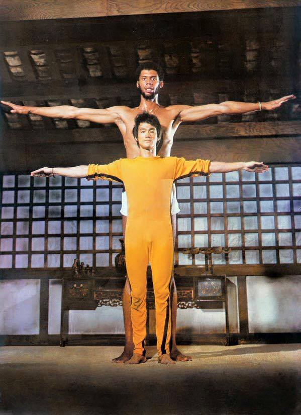 28_Bruce Lee with Kareem Abdul Jabbar on the set of Game of Death, 1972..jpg