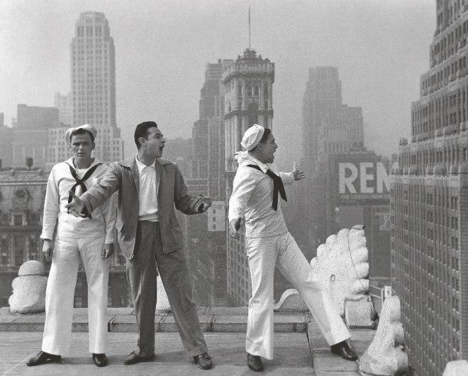16_Frank Sinatra, Director Stanley Donen and Gene Kelly rehearse on the set of On the Town..jpg
