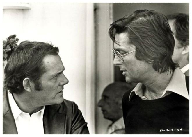 11_Producer Robert Evans with actor Robert Shaw & director John Frankenheimer on the set of Black Sunday,1977-1