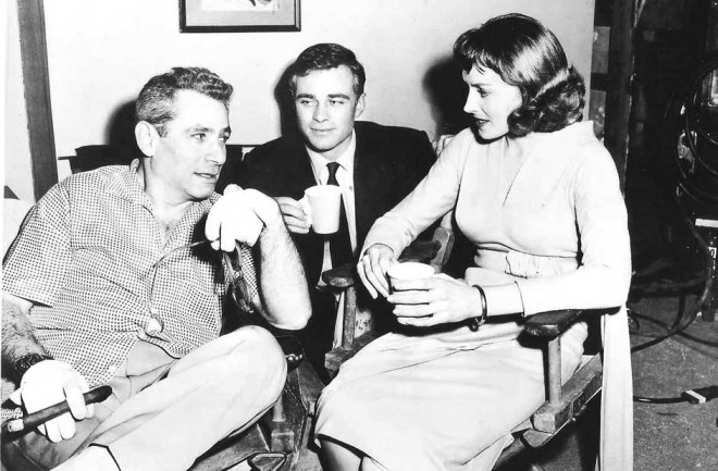 18_Samuel Fuller, Glenn Corbett and Victoria Shaw on the set of The Crimson Kimono.jpg
