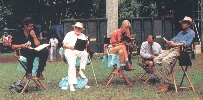 27_Jeff Goldblum, Richard Attenborough, Laura Dern, Martin Ferrero and Sam Neill on the set of Jurassic Park..jpg