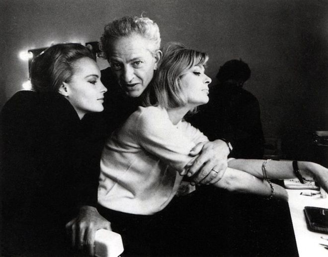 19_Romy Schneider, Melina Mercouri and Jules Dassin on the set of  10 30 P.M. Summer, 1966.jpg