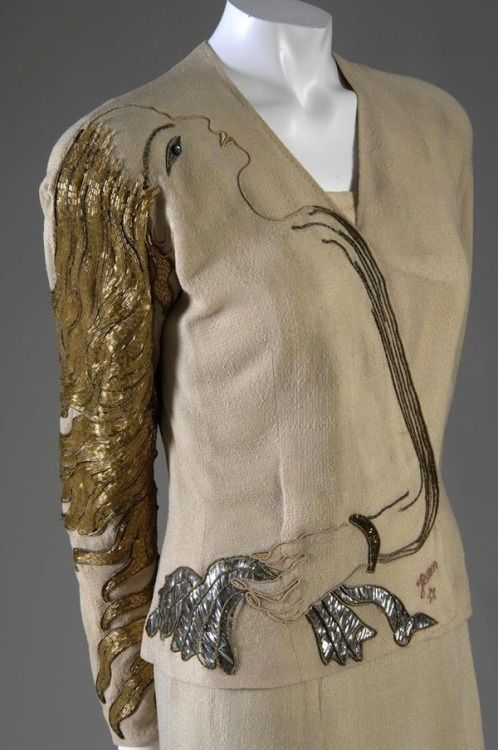 "2_Elsa Schiaparelli. ""Cocteau"" Evening Jacket, Fall 1937. Linen, metallic foil, beads, paillettes.jpg"