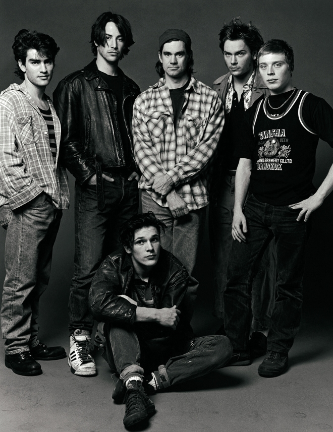 "7_Rodney Harvey, Keanu Reeves, Gus van Sant, River Phoenix, Shaun Jordan, Michael Parker by Bruce Weber. Publicity still for ""My Own Private Idaho"".jpg"