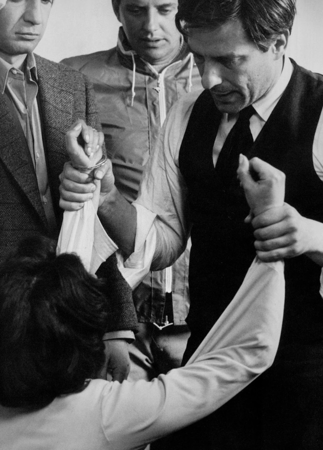 Ben Gazzara, Meta Shaw Stevens and John Cassavetes on the set of Husbands (1970)-2