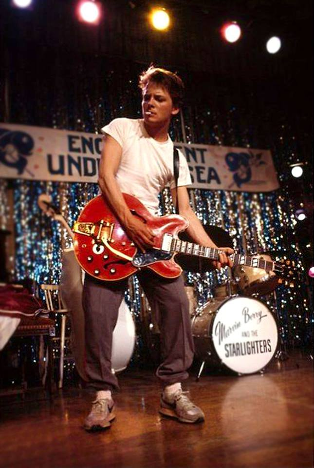 16_Michael J. Fox on set of Back to the Future, rehearsing Johnny B. Goode, 1985..jpg