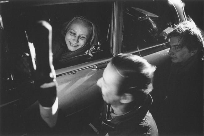 25_Kati Outinen, Matti Pellonpää and Aki Kaurismäki, Filming Shadows in Paradise, 1986..jpg