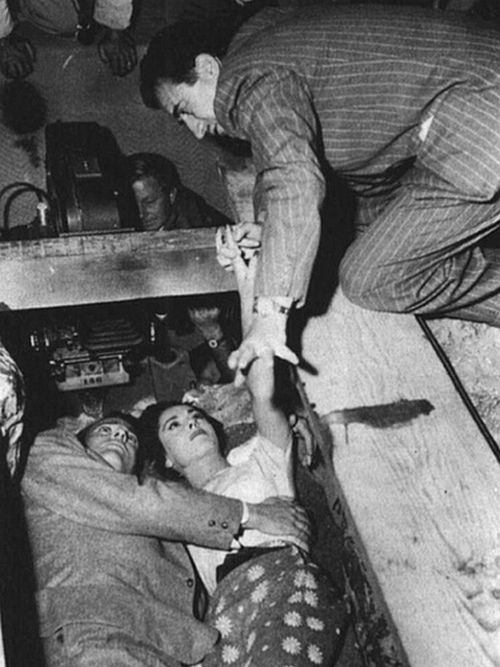 Don Siegel directing Kevin McCarthy and Dana Wynter in Invasion of the Body Snatchers, 1956.jpg