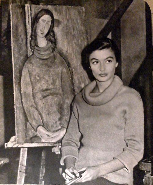 """12_Anouk Aimée et Modigliani lors d'un cocktail pour """"Montparnasse 19"""" de Jacques Becker, septembre 1957.jpg"""
