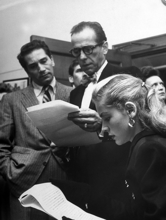 18_Richard Conte, Humphrey Bogart, and Lauren Bacall at a hearing charging the House Un-American Activities Committee with violating civil rights, 1947..jpg