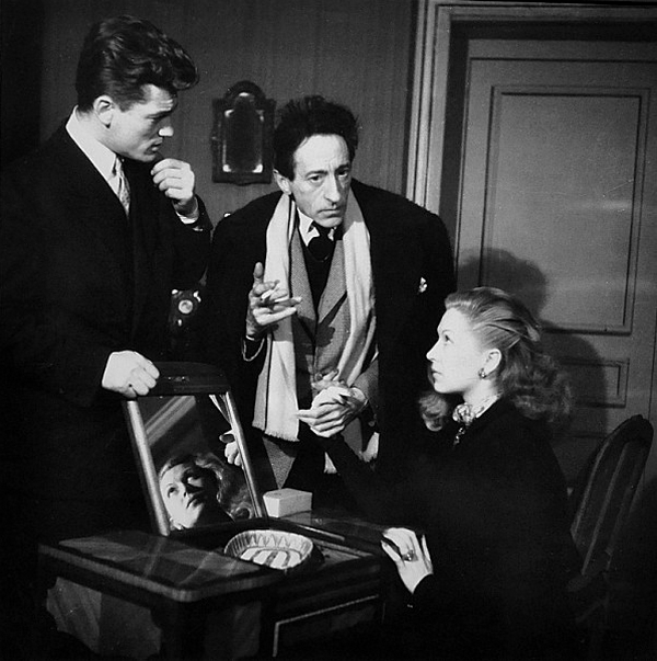 13_Jean Marais, Jean Cocteau and Josette Day, during the rehearsals of the play Les Parents terribles in 1946..png
