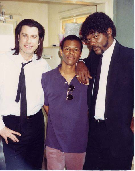 20_John Travolta, Phil LaMarr and Samuel L Jackson on the set of Pulp Fiction (1994).jpg