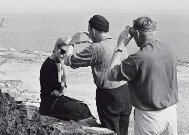 28_Ingmar Bergman and the legendary cinematographer Sven Nykvist framing a close-up of Bibi Andersson on the sets of Persona (1966).jpg